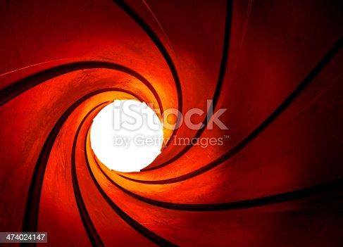 abstract - metal - focus - gun - barrel - concept - center - shot - highlight - background - 3d