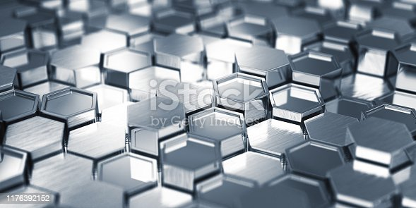882222132 istock photo Abstract Metal Hexagons 1176392152