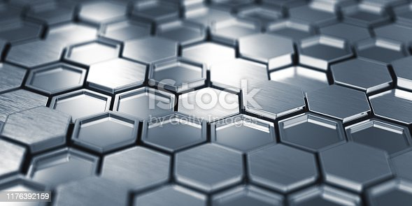 882222132 istock photo Abstract Metal Hexagons 1176392159
