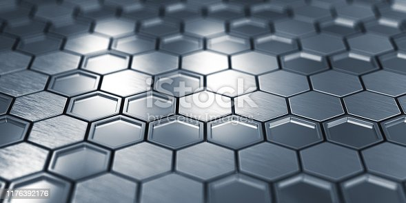 882222132 istock photo Abstract Metal Hexagons 1176392176