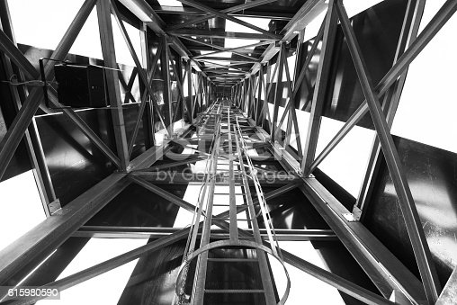 istock Abstract metal structure in black and white 615980590