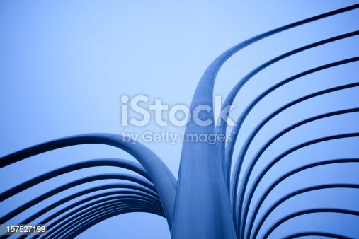istock Abstract Metal Tubes with Tungsten Blue Light 157527199