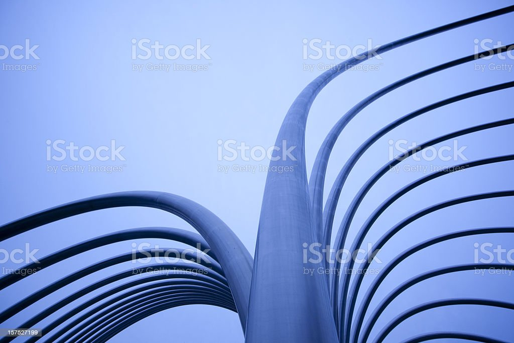 Abstract Metal Tubes with Tungsten Blue Light stock photo