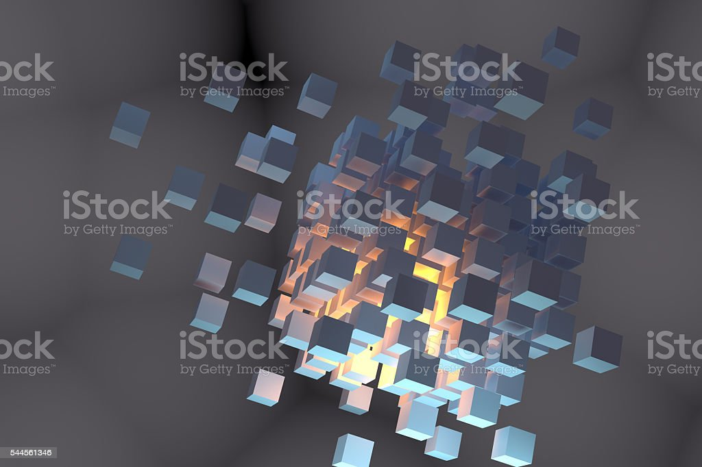 Abstract metallic 3d cubes grid stock photo