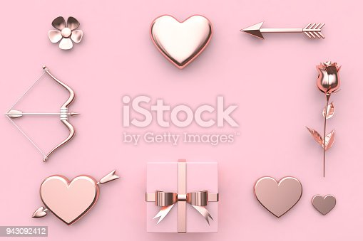 istock abstract metallic valentine concept 3d rendering flower heart arrow bow gift box rose pink background 943092412