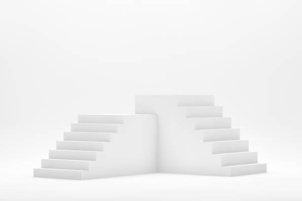 3D Abstract Minimal Background, Stairs, Ladder, Podium - foto stock