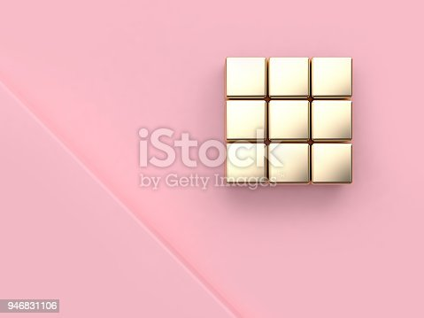 istock abstract minimal pink background pink scene angle corner metallic gold reflection cube square 3d rendering 946831106