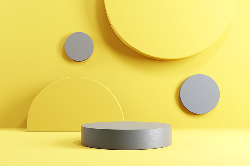 Abstract minimal scene with geometric forms. Cylinder podium stage in yellow and grey backgrounds. for show product presentation 2021.