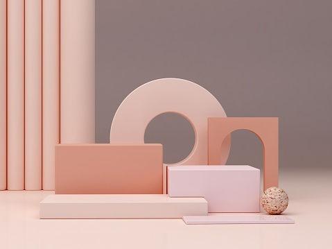Abstract minimal scene with geometrical forms. Podiums in cream colors.