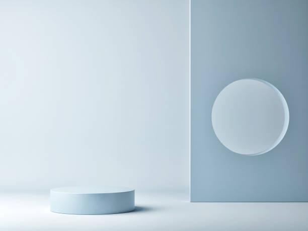 Abstraktes Minimalismus-Podium für Produktpräsentation, blauer Hintergrund – Foto