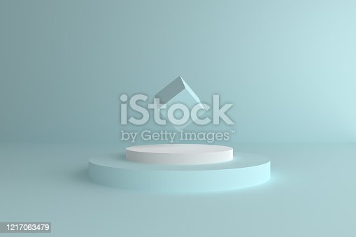 istock Abstract modern 3d geometric background, Three-dimensional minimal scene design, Pastel color blank space 1217063479