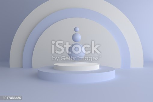 istock Abstract modern 3d geometric background, Three-dimensional minimal scene design, Pastel color blank space 1217063480