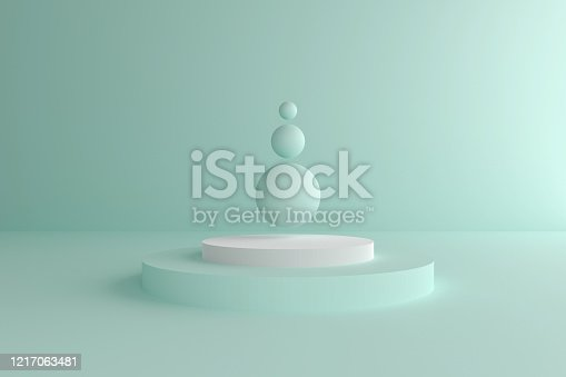 istock Abstract modern 3d geometric background, Three-dimensional minimal scene design, Pastel color blank space 1217063481