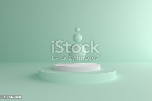 istock Abstract modern 3d geometric background, Three-dimensional minimal scene design, Pastel color blank space 1217063483