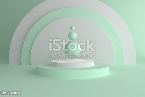 istock Abstract modern 3d geometric background, Three-dimensional minimal scene design, Pastel color blank space 1217063485