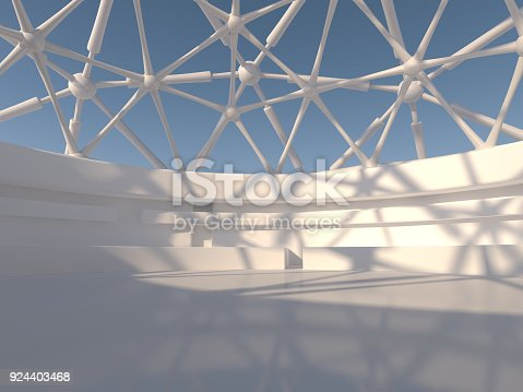 istock Abstract modern architecture background. 3D rendering 924403468