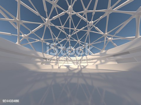 istock Abstract modern architecture background. 3D rendering 924403486