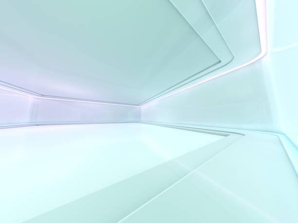 modern mimari arka plan, açık alan iç boşaltın. 3d - i̇nsan yapımı yapı stok fotoğraflar ve resimler