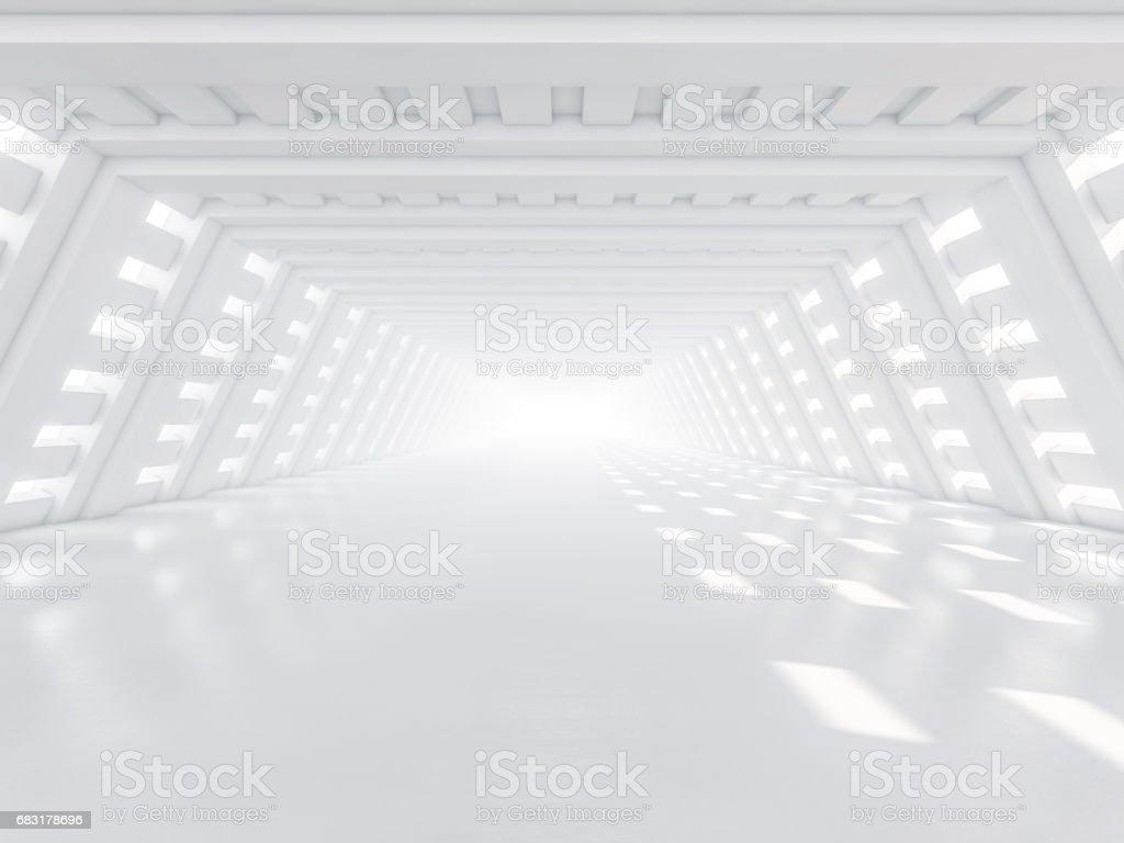 추상적인 현대 건축 배경, 빈 흰색 오픈 공간 인테리어. 3 차원 렌더링 royalty-free 스톡 사진