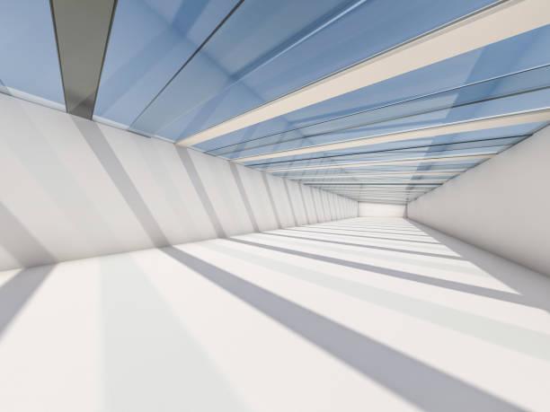abstrakte moderne architektur hintergrund, leeren weißen freifläche interieur. 3d-rendering - büro zukunft und niemand stock-fotos und bilder