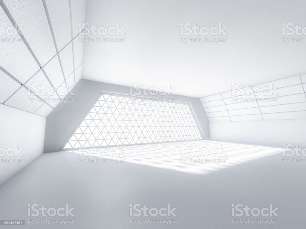 Abstract modern architecture background, empty white open space interior with windows and concrete walls. 3D rendering stock photo