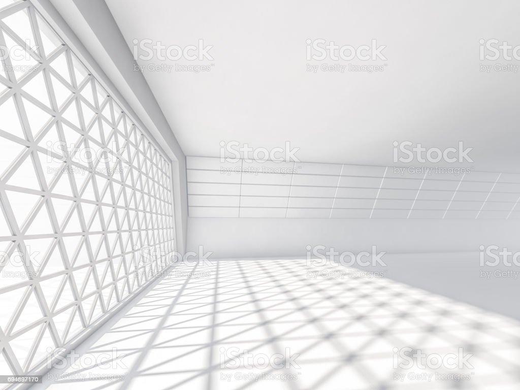 Abstrakte Moderne Architektur Hintergrund Leere Weisse Freiflache Interieur Mit Fenster Und Wande Aus Beton