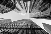 istock Abstract modern architecture business buildings in London's financial district in monochrome - stock image 1135069889