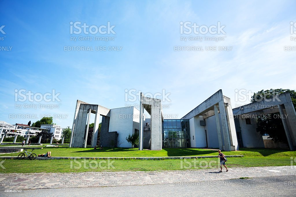 Abstract modern architecture in Innenhafen Duisburg stock photo