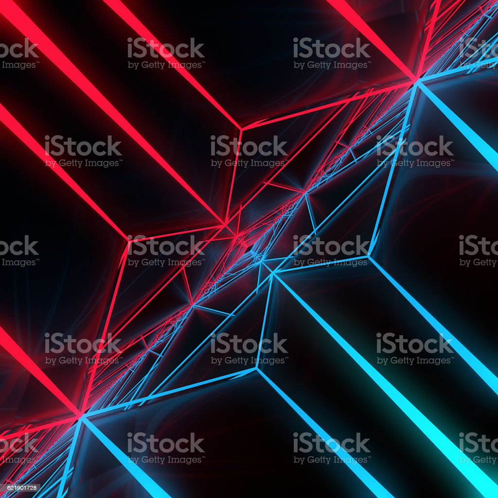abstract modern blue and red lines background 3d rendering stock photo