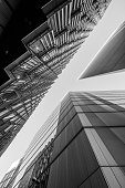 istock Abstract modern Business buildings in London's Financial District - black and white stock image 1133039341