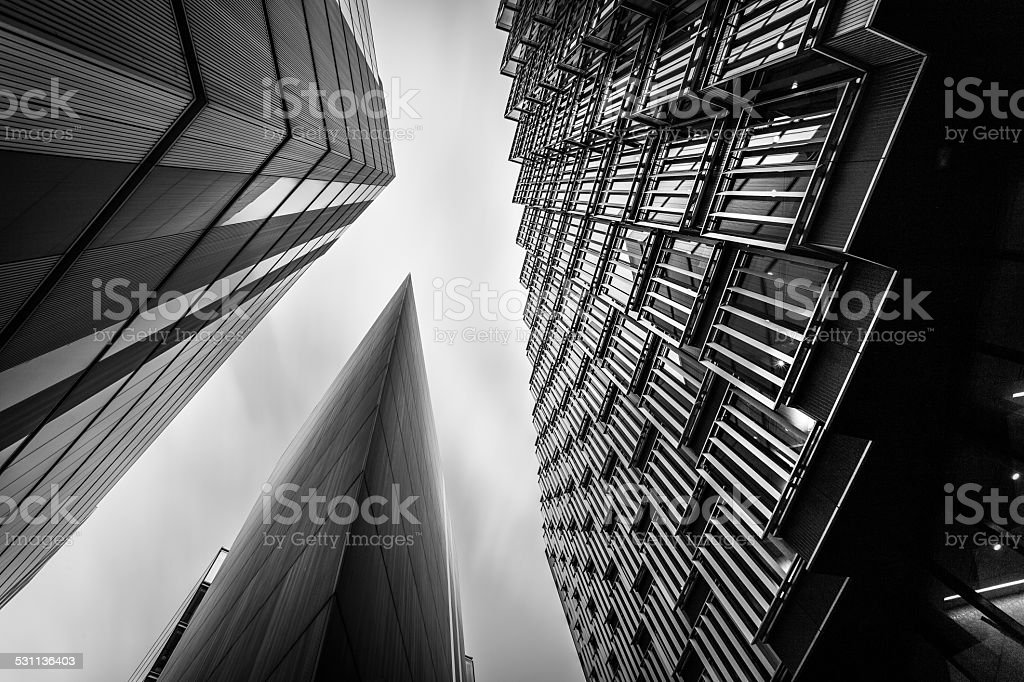 Abstract modern Business buildings in London's Financial District BW stock photo
