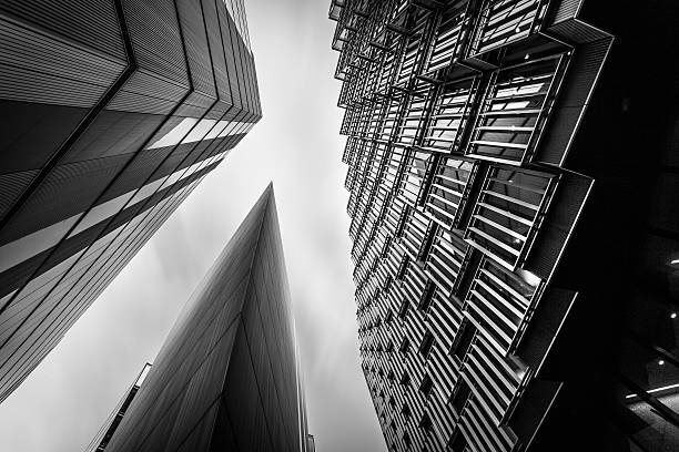 Abstract modern business buildings in londons financial district bw stock photo