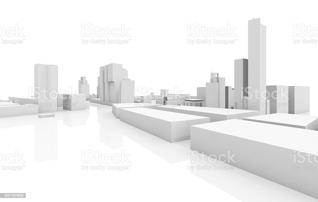 Abstract modern cityscape isolated 3 d model stock photo