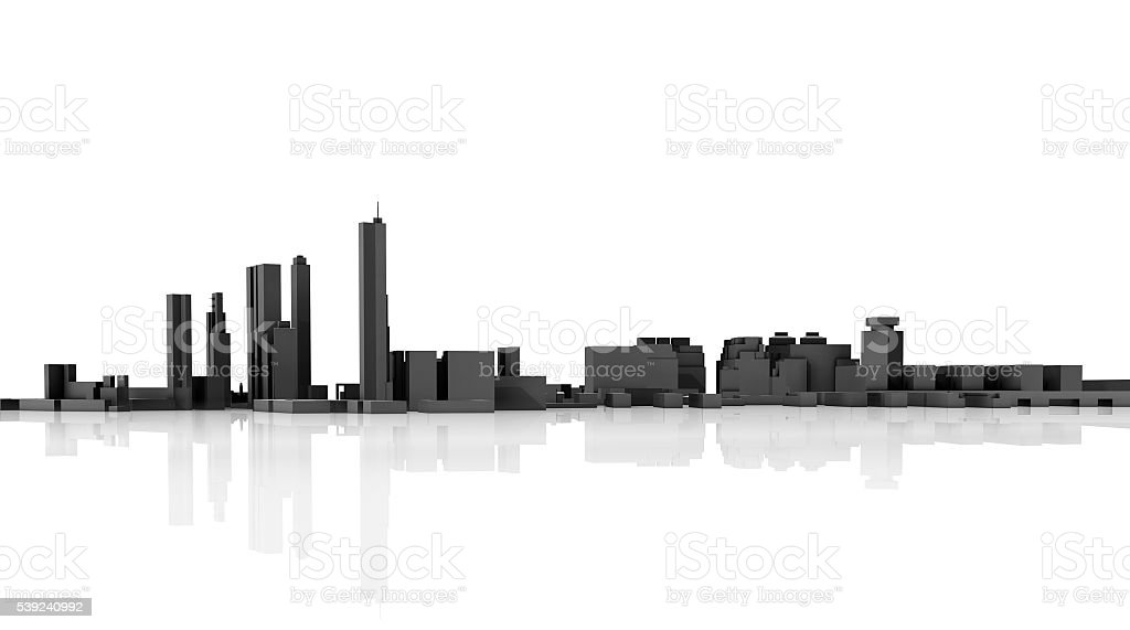 Abstract modern cityscape skyline. 3d model royalty-free stock photo