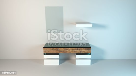 istock Abstract modern furniture 3D Rendering 835680034