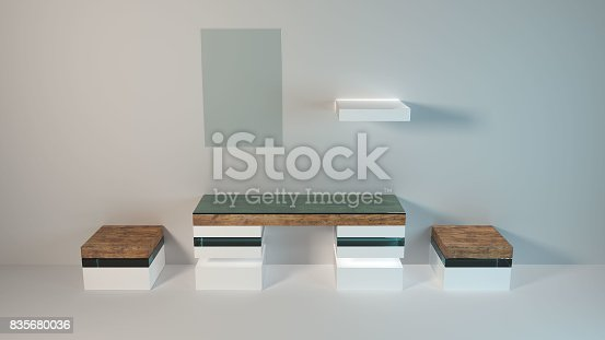 istock Abstract modern furniture 3D Rendering 835680036