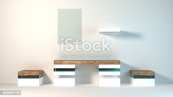 istock Abstract modern furniture 3D Rendering 835680106