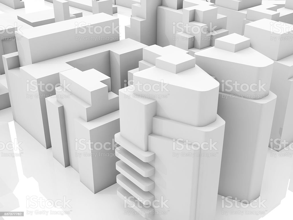 Abstract modern new cityscape, 3d render stock photo