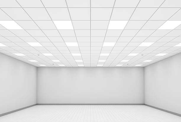Abstract modern white office interior background 3d Abstract modern white office interior background. 3d illustration, front view ceiling stock pictures, royalty-free photos & images