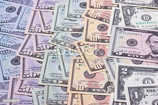 istock abstract money background us dollars of different denominations. 865396406