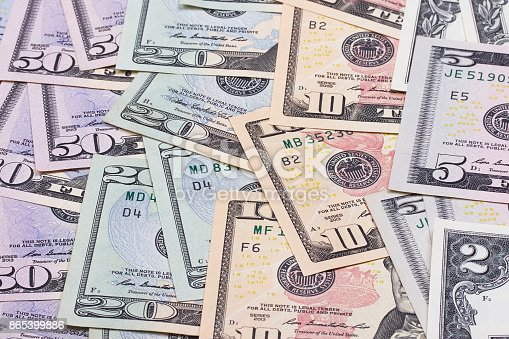 istock abstract money background us dollars of different denominations. 865399886