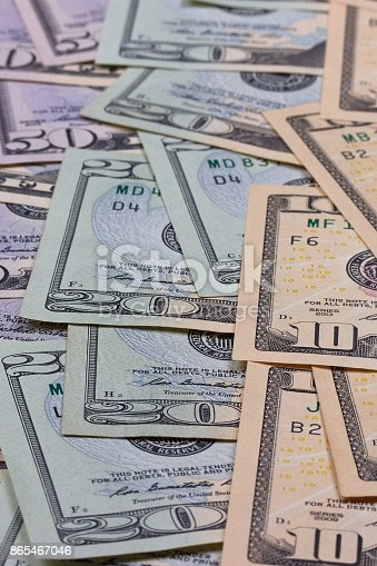 istock abstract money background us dollars of different denominations. 865467046