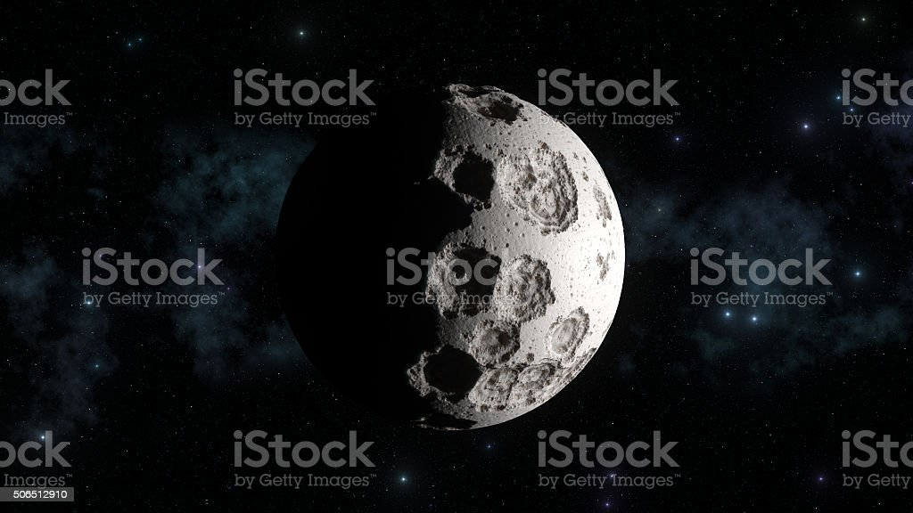 Abstract moon with galaxy in background and sharp sun light stock photo
