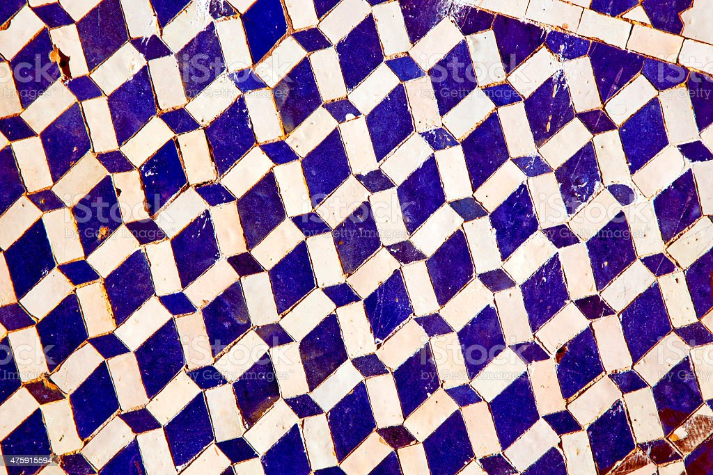 abstract morocco in africa  tile blue  background texture stock photo
