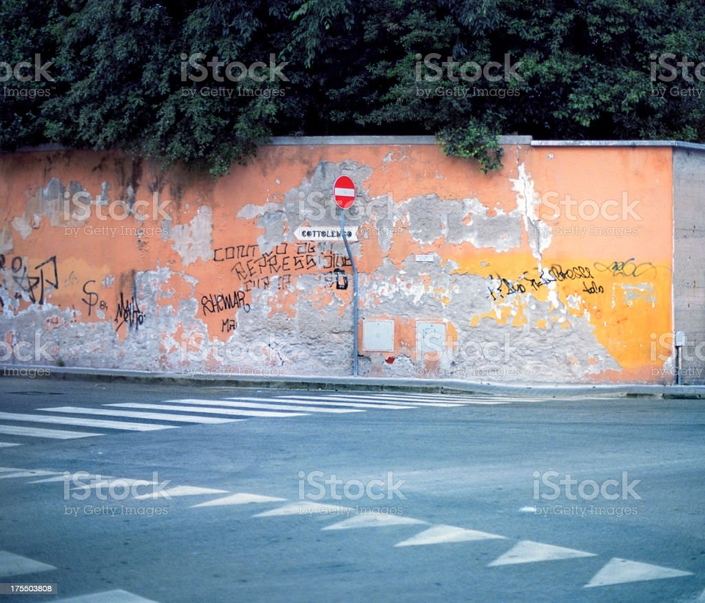 Abstract motif with street signs and pedestrian crossing stock photo