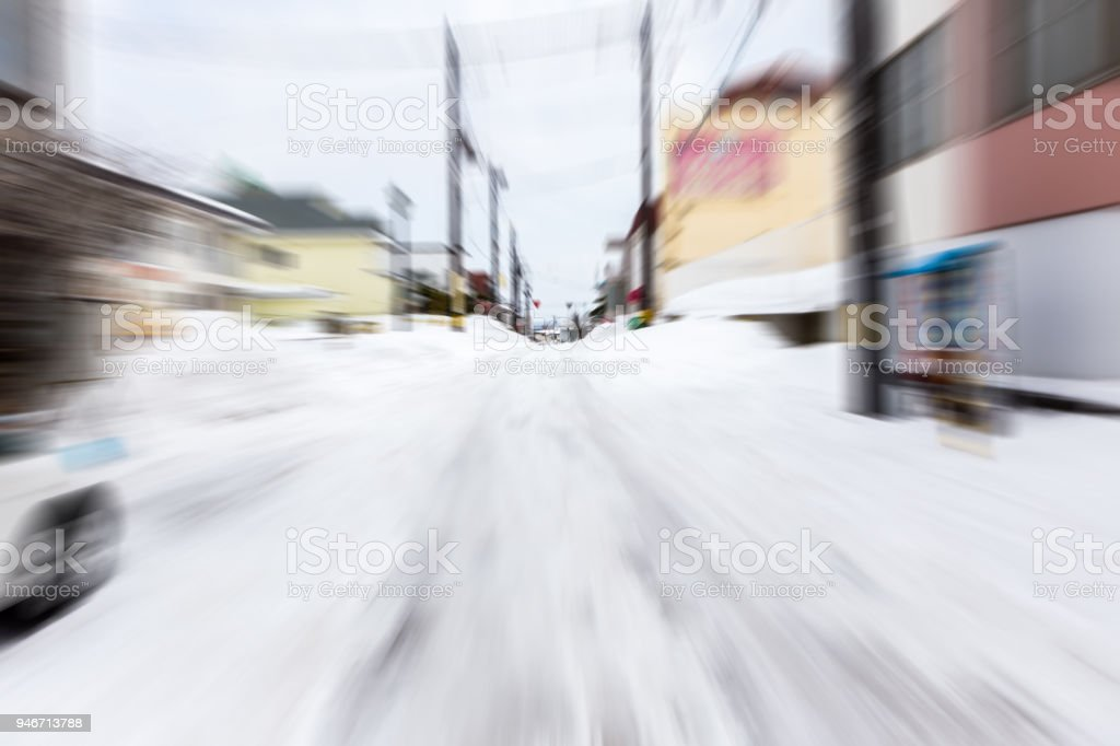 abstract motion blur fast drive on snow road stock photo