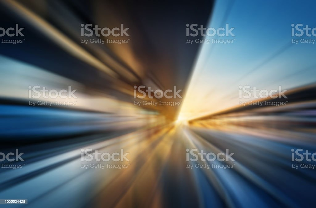 Abstract motion blur image of Venice city rail station. stock photo