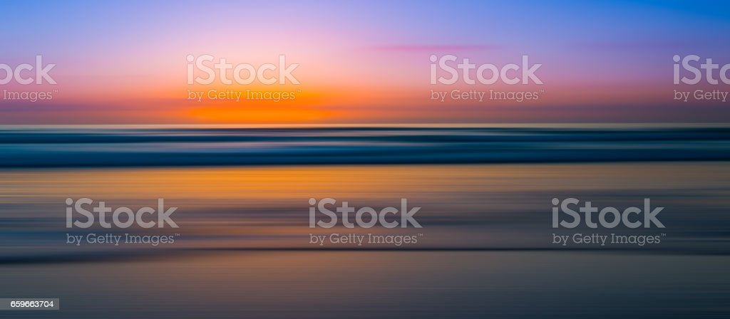 Abstract motion blur of a seascape panorama stock photo