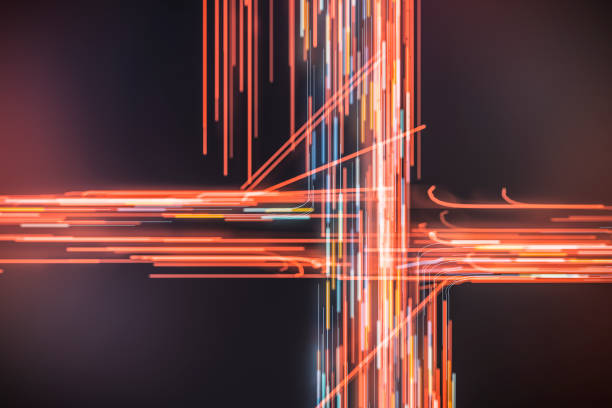 Abstract motion blur trails Abstract motion blur trails. road intersection stock pictures, royalty-free photos & images