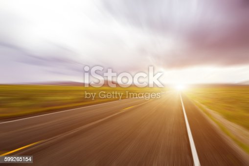 istock Abstract Motion blurred asphalt road 599265154